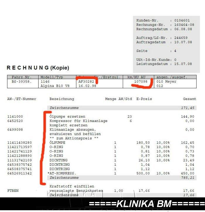 historia serwisowa BMW
